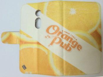 オーダーメイド「Orange Pub」ロゴ入り手帳型スマホケース